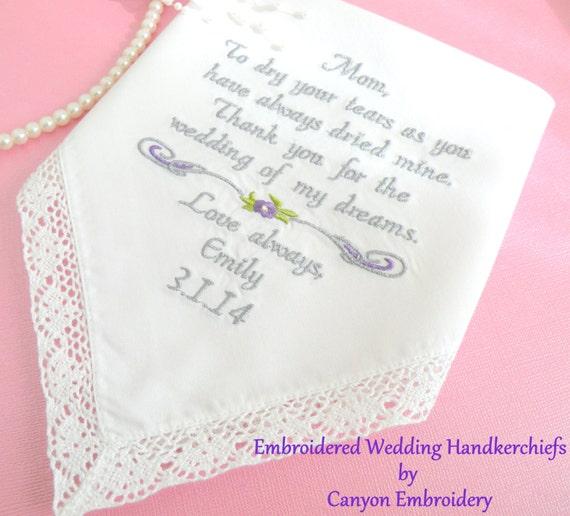 ... Wedding Hankerchief, = Wedding Gift for Mom, PURPLE WEDDING, Wedding