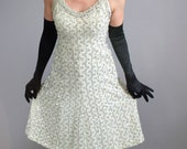 SALE - Vintage  1960s Gold Cream Sequined Cocktail Party Dress. Hollywood Glam