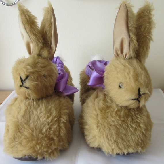 Ladies Novelty  Slippers- Brown Plush Bunny-Lined Crm Poodle Fur or Mauve Fleece-Ladies UK Size 5-6-Xmas-Birthday-Easter-All Year-Gift Ideas