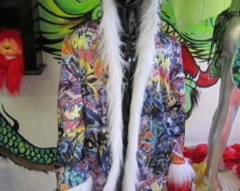 Light Up Coat  Faux Fur Coat with Graffiti satin interior 60 LEDS RGB -LED fur coat Wild In The Streets   Burning Man Coat with Lights