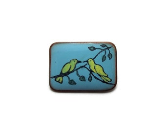 Tiny Enamel Birds Brooch, Twins, Love Birds, Lovers, Blue and Yellow