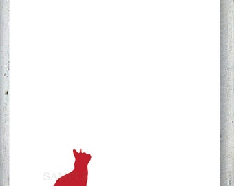 Sitting Pretty, Cat Personalized Stationary, Silhouette Blank Flat Note Cards, Set of 10, Professionally Printed