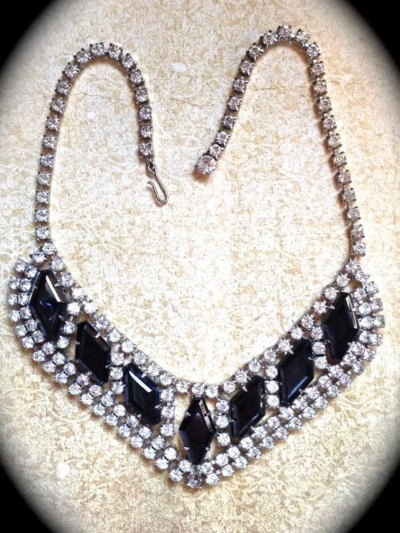 Vintage Black Rhinestone Necklace