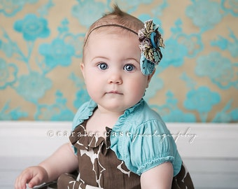 Woods and Wildflowers- ruffle and rosette headband in aqua and brown