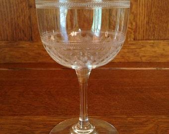 Vintage Wine or Water Glasses - Set of 2 - Etched Crosshatch Design