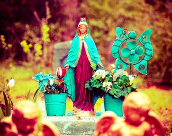 Cemetery Photography, Virgin Mary Statue, Guadalupe, Lady Madonna, Fine Art Photography, Condolence Art, Religious Statue, Day of The Dead