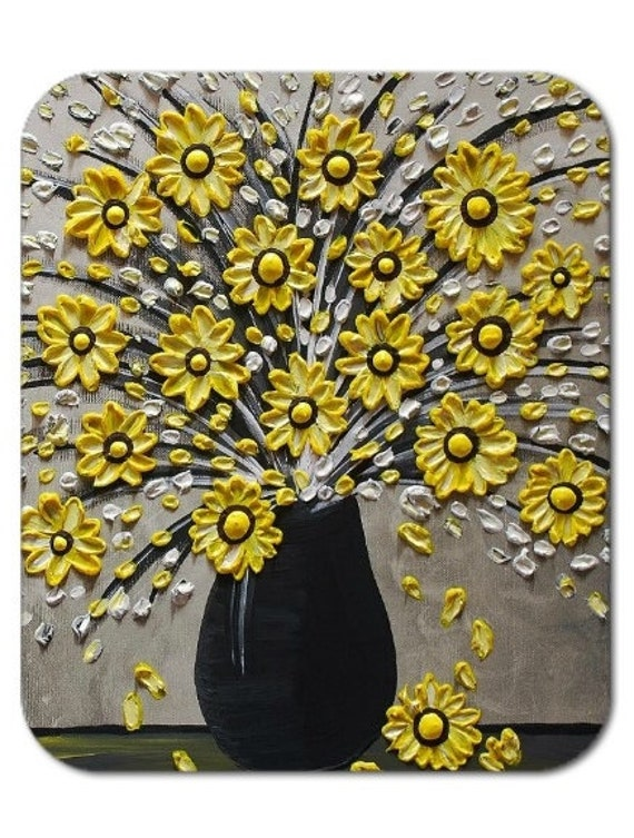 Mousepad Mouse Pad Fine Art Painting The Yellow Bouquet Flowers Vase Black