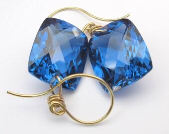18k London Blue Topaz Earrings, 18k Solid Gold London Blue Topaz Drop Earrings, London Blue Topaz Dangle Earrings