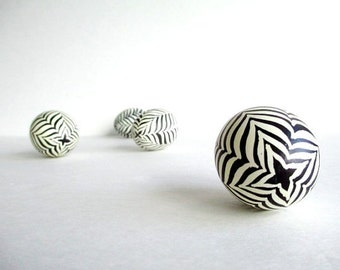 Zebra home decor black and white stripy egg shell beautiful and authentic 100 handmade egg art batik dyeing technique made in Canada