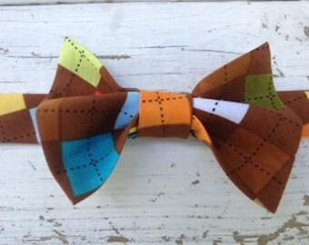 Brown Argyle Bow Tie