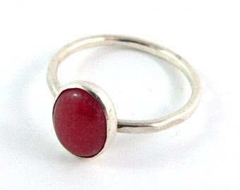 Red Jade Cabochon Sterling Silver Stacking Ring