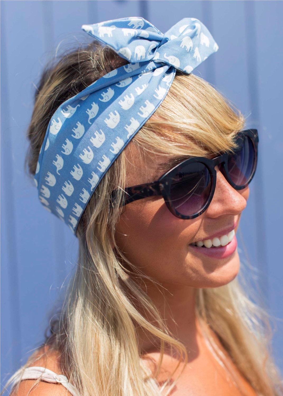 Cute Elephant Wire Headband Dolly Bow Pin Up Rockabilly Hair