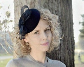 3in1 MINI HAT - Minimalistic Black Bow - Beige - Red - Interchangeable Trimming Fascinator - Cocktail Pillbox Hat Womens Perfect Gift
