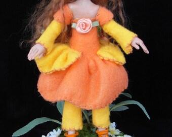 "OOAK  polymer clay art doll,  ""Blossom"", pixie, fairy, sprite, fae, gnome by Lori Platt of The Pixie Knoll"