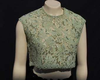 Vintage 50's Cropped short lace top blouse shirt green lace hand embroidered with sequins MINT sM by the kaliman