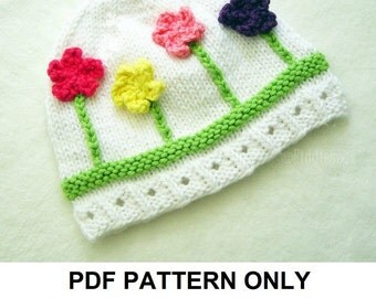 Knit Hat Knitting Pattern - Girls Hat Pattern - the POSY Hat (Newborn Baby Toddler Child & Adult sizes incl'd)