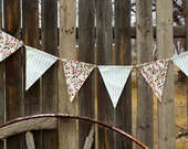 Fabric Bunting Chocolate, Lime and Poppy Bunting, Fabric Banner, Flags, Party Pennants, Reusable Party Decorations by InYourBones