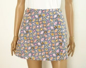 Vintage 1970s Scooter Skort Mini Skirt Shorts / Navy Pink White / XS Small