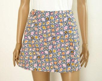 Vintage 1970s Scooter Skort Mini Skirt Shorts / Navy Pink White / XS Small
