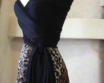 Leopard Lace-Octopus Convertible Wrap Dress- Bridesmaids, Wedding-Short Circle Skirt Dress