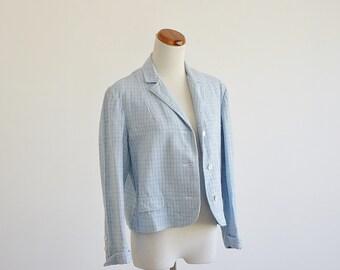 Vintage 60s Jacket - Loomtogs Woven Jacket - 1960s Blue Jacket -- Spring Jacket - Lightweight Jacket - Baby Blue - Medium Large