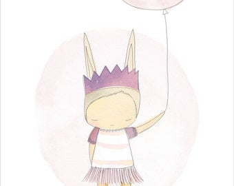 Poster Ballerina Baby Shower Art Print - Ballerina Bunny with Balloon - wall art - Large A3 or 11x14""