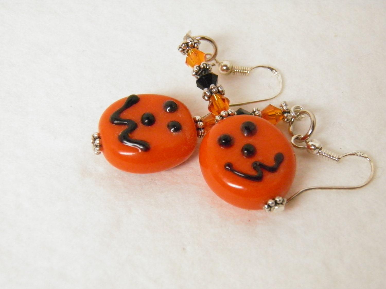 pumpkin earrings sterling silver and lwork glass