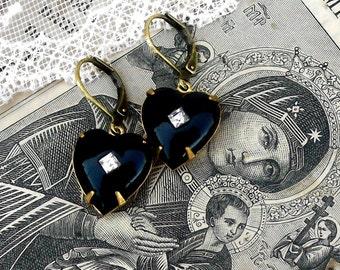 Black Heart Diamond, Vintage Black Glass Heart with Clear Rhinestone Earrings, Hollywood Hillbilly