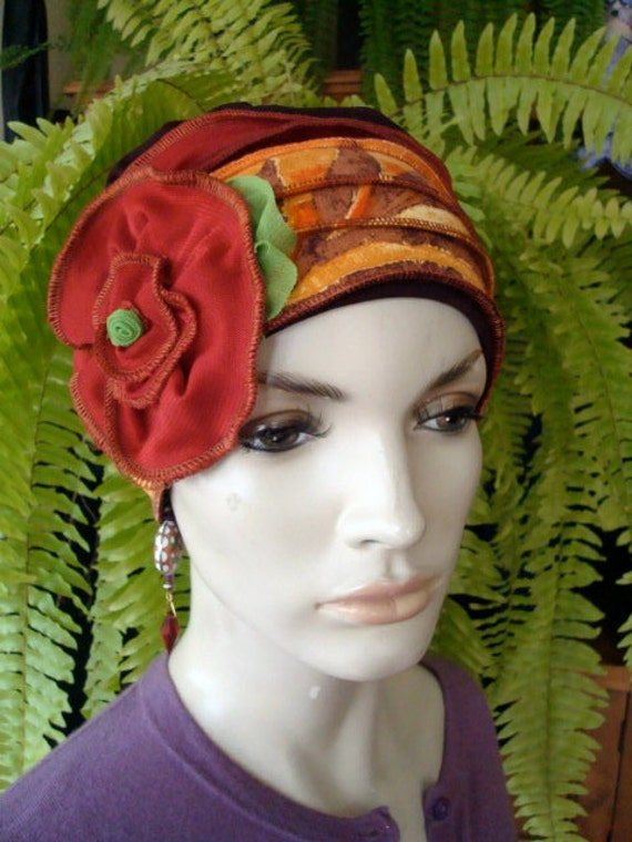 Womens hat Chemo Headwear Soft With hand stitched crown Autumn 1920s  Cloche Flapper hat Bohemian Autumn hat with Rust flower