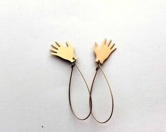 jazz hands earrings / helping hands long brass earrings