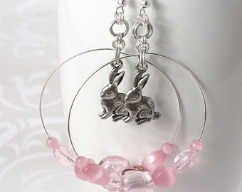 Rabbit Hoop Earrings - Antique Silver Pewter Bunnies, Pale Pink Glass Beads, Cats Eye Beads