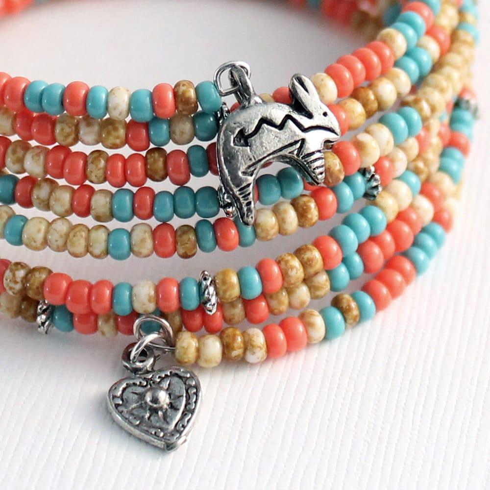 Memory Wire Bracelet Southwest Colors Rabbit Charms