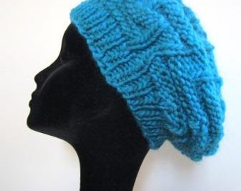 Slouchy Beanie Cap Beret Hand Knit Chunky Turquoise Blue Wool Rustic  - Size Medium