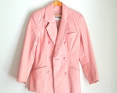 90s Pastel Baby Pink Double Breasted Peacoat Leather Jacket