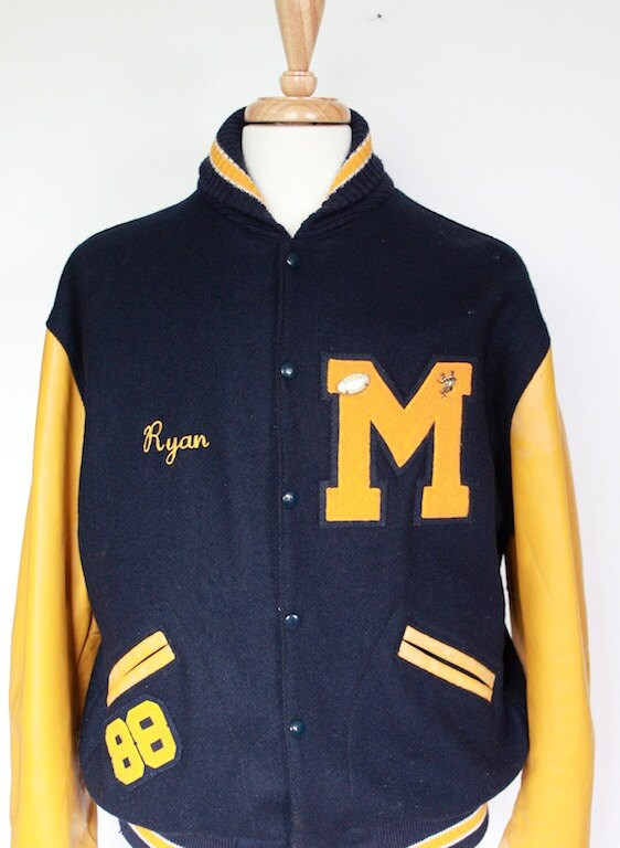 Vintage 1960s Yellow And Blue Letterman Jacket Football And