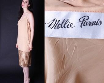 Mollie Parnis Dress - Vintage Gold Party Dress - Flapper  Dress  - Designer Cocktail Dress  - Vintage Gold Lace Dress  -  Slip Dress - 2665