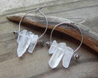 crystal earrings, crystal point hoops, modern raw crystal earrings, crystal beadwork earrings, rustic chandelier
