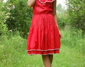 Vintage 70s Red and White Tiered Ruffle Skirt Dress Medium