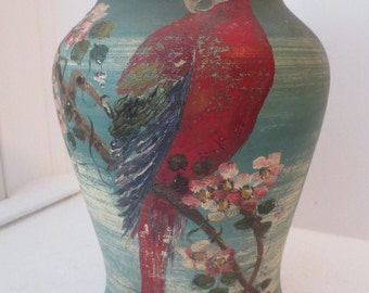 Vintage Art DECO Red MACAW Parrot on Cherry Blossoms Branch Heavy Pottery Vase c. 1930s