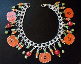 Charm Bracelet, Halloween Jewelry, Pumpkin, Pumpkin Bracelet, Pumpkin Patch, Teen Jewelry, Halloween Accessory, - PUMPKIN PATCH
