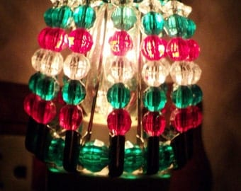 Night Light Shade, Beaded, Christmas, Home Decor, Christmas Decor, Holiday Decor, Red, Clear, Green, Night Light, Shade, Kitchen