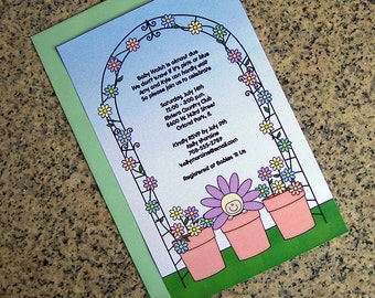 flower pot baby pastels baby shower invitations full sized fully custom for either boy girl with envelopes - set of 10