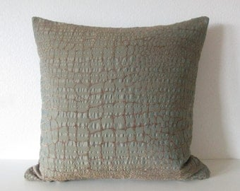 Crocodile pattern muted green brown pillow cover