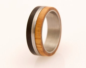 Titanium Ring Mens Wedding Band with Olive and Ebony  wood and Titanium Ring