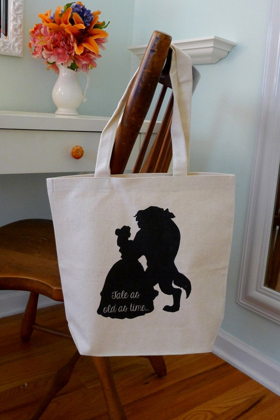 Beauty and the beast, Disney Belle, Disney tote, tote bag, beauty and the beast tote, disney silhouette