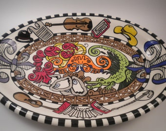 Abita Opry Tribute Platter, Cajun Music, Fiddle, Acordion, Seafood Gumbo, Fleur de Lis, Alligator, Oyster, Crawfish,Bluegrass, Cowboy Hat