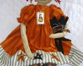 "Primitive ""Gertie Mae and Scat Cat"" Primitive Raggedy Doll & Cat Pattern"
