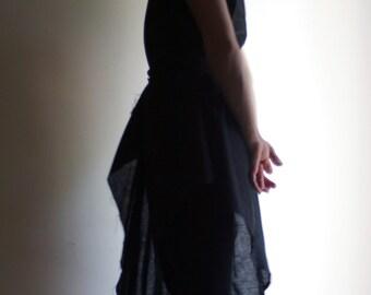 Linen Tunic Dress Asymmetrical Tunic Minimalist Design by NervousWardrobe on Etsy