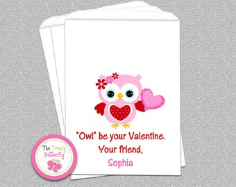 Owl Valentine Day Goody Bags, Candy Bags, Party Favor Bag, Set of 24