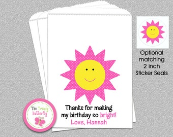 Sunshine Party Favor Bags, Sunshine Birthday Party , Candy Bags, Goody Bags, Party Favor Bag
